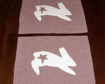 Bunny Placemats, Primitive Rabbit, Set of Two, 12x16 Inches, Country Red Homespun, Rustic Folksy, Sale Priced, Dining Table Decor