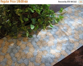 July Sale Table Runner Padded Floral Print in Blue Brown