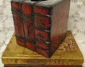 Unique RED Skeleton Key Vintage Books Tissue Box Cover Shabby Chic Boho