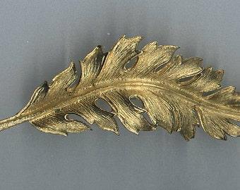 Coro Curved Leaf Pin Brooch Vintage 1961 Goldtone Textured Metal