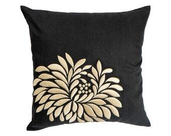 Beige Flower Pillow Cover, Black Linen Beige Floral Embroidery, Floral Couch Pillow, Black BeigeCushion, Modern Home Decor, Pillow Shams