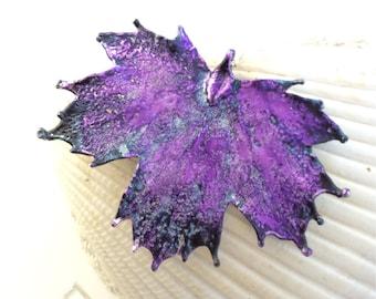 Maple Leaf Necklace, Deep purple leaf, sterling silver chain, unusual original leaves jewelry
