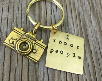 Ready to ship- hand stamped square key chain- brass square hand stamped with I shoot people and camera charm