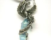 Phoenix Bird Emerging Amulet Pendant Fine Antiqued Pewter Aqua Aura Quartz Talisman