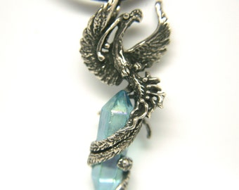 Phoenix Bird Emerging Amulet Pendant Fine Antiqued Pewter Aqua Aura Quartz Talisman, Mothers Day