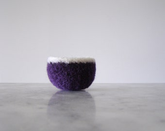 Tiny Felted Wool Dish - Air Plant Planter - Ring Dish - Jewelry Bowl - Scratch Free - Blackberry Grape and White Bowl - Ready to Ship