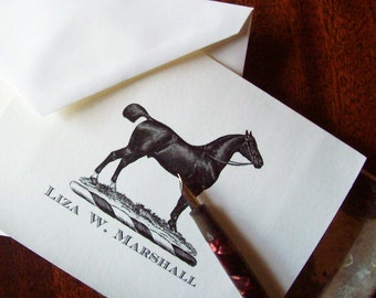 Equestrian Horse Personalized Note Cards Stationery Cropped Tail Black  Notecards 10 Vintage Art Monogrammed English Saddle Country Chic