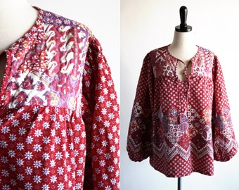 1970's Vintage Woman's Free Flow Cotton Patchwork Hippie Bohemian OS Tunic Blouse