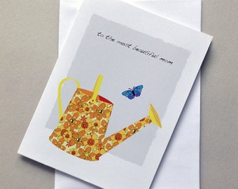Watering Can, Mothers Day Card, Mom, Card, Birthday Card, for Mom, Sale