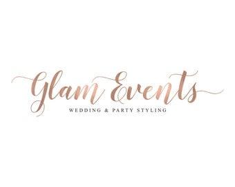 Rose Gold Logo Calligraphy Logo Photography Logo Photography Watermark Event Planner Logo Wedding Planner Logo Party Planner Logo Design