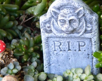 Dollhouse  Fairy Garden Halloween Decoration RIP TOMBSTONE   terrarium miniature  ceramic Grave marker. Skeleton gargoyle or panther