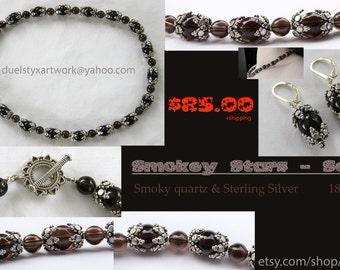 Smokey / Smoky Stars Set - Cosmic Necklace Galaxy Space Jewelry Astronomy Dark Beaded Quartz Earrings Sterling Silver - Handmade Unique
