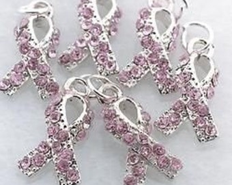 Breast Cancer Rhinestone Pink Ribbon Charms - Set of 4 | Race for a Cure