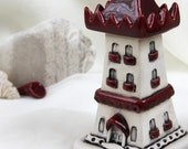 Reserved for Nancy - Strawberry ruby red tower of tiny fairies - Hand Made Ceramic Eco-Friendly Home Decor by studio Vishnya