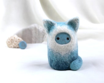 OOAK Blue Kitten - Needle felt art doll with ceramic face - Hand Made Eco-Friendly Home Decor by studio Vishnya