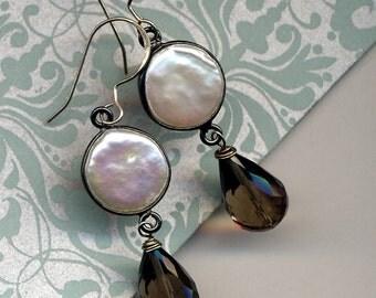 Sterling Silver Pearls earrings, Bridal Pearl Earrings, Sterling Silver Earrings, Long Sterling Silver Earrings, Smokey Quartz Earrings