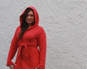 Bamboo Fleece Wrap Hoodie - Deep Red