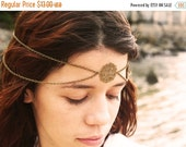 CLEARANCE SALE Chain Headpiece Headband Hair Piece Bohemian Hipster Boho Hippie Bronze Floral Circle Centerpiece Drape Bridal Statement Jewe