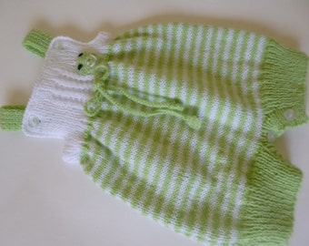 Knitted Baby Overall, Baby Romper, Baby Overall, Take Home Overall, Coming Home Romper,  Baby Shower Gift, White Green Overall.