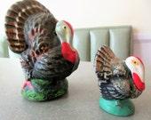 Vintage Turkeys, Chalkware Turkeys, Thanksgiving Decor, Vintage Holiday Decor, Turkey Figurines, Vintage Thanksgiving, Made in Japan Birds