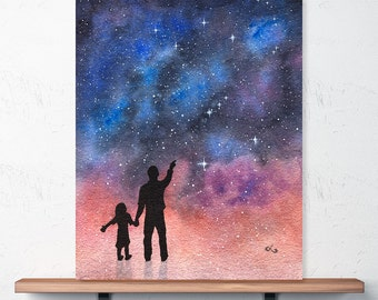 Father Daughter Art Print | Science Dad | Inspirational Dad | Astronomy Art | Kids Room Science Art | Galaxy Art | Science Kids