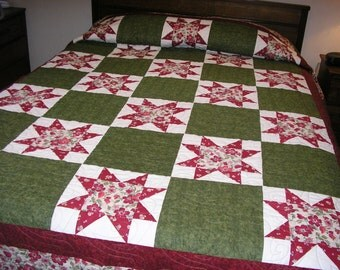 Queen Quilt / King Quilt, Stars in Dark Reds, Greens and Deep Rose, 87 x 104 inches
