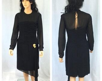 Vintage Long Sleeve Little Black Dress. AJ Bari. 1980s. Cocktail Dress. Size 10. Wedding. Sheer Black. Open Back. Formal. Evening Wear.