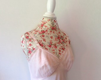 vintage 1950's pink slip // 50's chiffon lace slip dress // illusion floral bodice