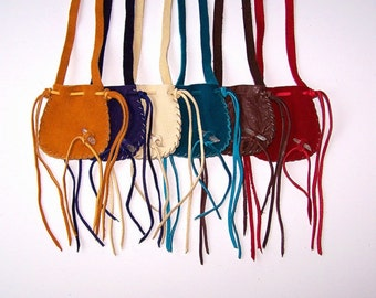 SPRING SPECIAL... Large All Leather Neck Pouch....Wholesale Lot of 12...Assorted Colors