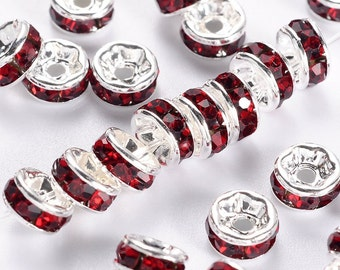 Dark Red Rhinestone Spacers - 5mm - Set of 12 - #SH249