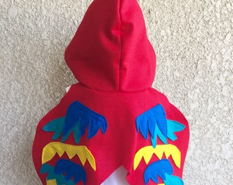 Red Bird Cape, Kids Halloween Parrot Costume, Red Parrot Wings