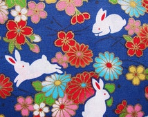 Animal Print Fabric - Oriental Rabbits Fabric in Blue - Animal Floral Cotton Fabric - Half Yard