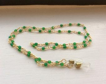 Emerald Green Czech Crystal Wire Wrapped Eyeglass Chain - Lanyard - Leash