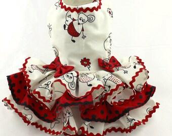 Dog Harness Dress, Dog Dress, Dog Fashion, Ruffle Dress for Dogs, Summer Dress for Dog, Custom Dog Dress, Handmade Dress for Dog, Red, Mouse