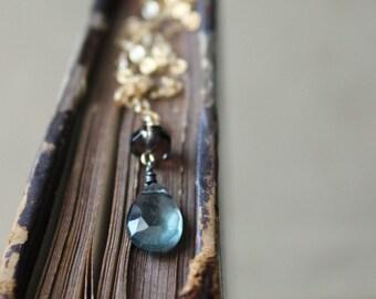 The Blueway Necklace. Modern Boho Chic Moss Aquamarine, Smoky Quartz and 14k Gold Gemstone Drop Necklace.