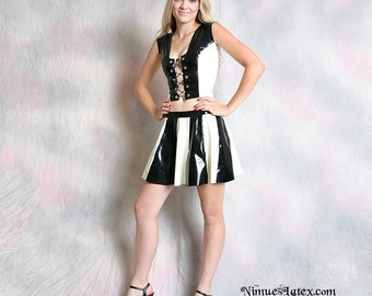 Two Tone Striped Latex Cheerleader Skirt, made-to-order in a variety of colors and sizes