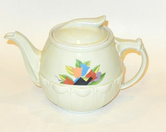 Art Deco Hall Drip-o-lator 6-Cup Coffee Pot: Ivory w/ Leigh Potter's 'Paris' Pattern - Abstract Tulips in Miami Beach Colors