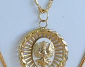"On sale Pretty Vintage Gold tone Crest Necklace, Double Strand, 24"", 32"""