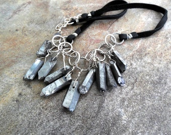 Metallic Silver Crystal and Suede Leather Cluster Necklace, Sterling Silver Modern Jewelry, Statement Necklace