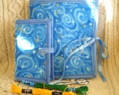 Blue Spirals Sewing Caddy Needle Book Hand Sewing Organizer Set