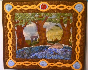 The Well Below the Sea Druid Wall Hanging, Fantasy Art Quilt
