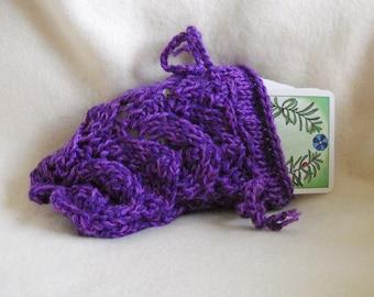 Purple Tarot Bag, Lace Knit Pouch, Rune Bag