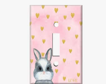 Bunny Switchplate Cover, Pink and Gold Nusery Decor, Bunny Light Switch Cover, Woodland Bunny Nursery, Single light switch cover