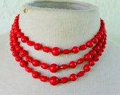 Red Multi Strand Necklace Statement