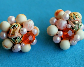 Vintage Cluster Earrings pink tan orange JAPAN Clip on Signed