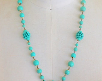 Vintage Necklace Beaded Turquoise 1960s