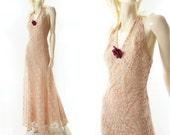 1930s Vintage Dress, Peach Lace Maxi, Vintage 30s Dress, Ecru Lace Prom Dress, 1930s Formal Dress, 30s Bias Dress, 1930s Wedding Dress, xs