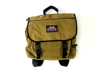 80s Olive Green Canvas Rucksack Outdoors GreatLand Pack Rugged Backpack School Bag Camping Travel Tote Purse Mens Womens Unisex