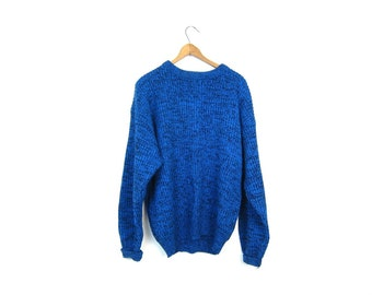 Loose Knit Boyfriend Sweater Blue Black Marled Knit Sweater 80s Retro Slouchy Pullover Basic Knit Crewneck Sweater Shirt Men's Large