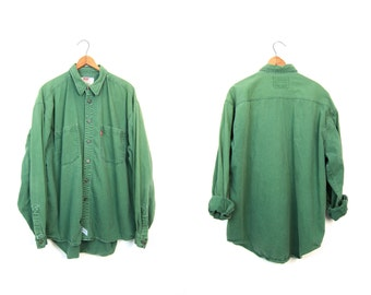Vintage LEVIS Shirt 90s Button Up Boyfriend Shirt Oversized Denim Shirt Green Jean Shirt Slouchy Mens Work Shirt XL Large